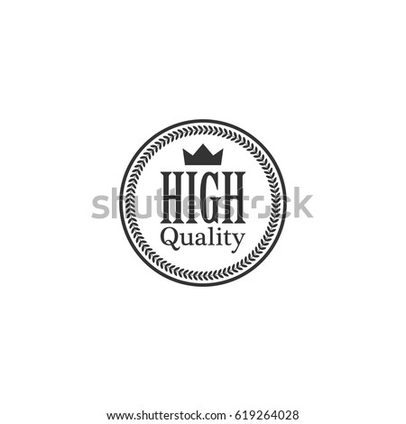 High quality word, crown and circle laurel on circle badge vector. Minimalist style, black and white color.