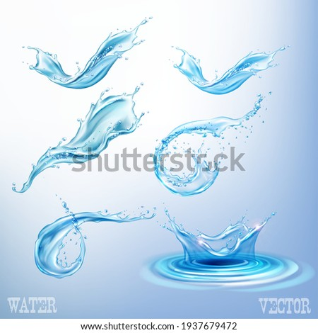 High resolution water splashes collection isolated on background