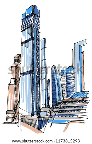 High-rise building sketch