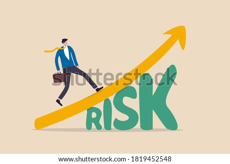 High risk high return stock market investment, trade off of risky investment asset rewarding growth return concept, confident smart investor walking on grow up stock market graph above the word Risk. Сток-фото ©