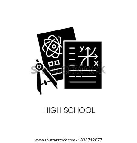 high school black glyph icon