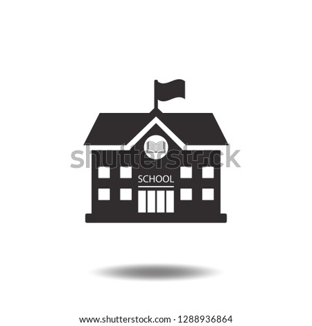 High school building icon vector college education with book and flag flat sign symbols logo illustration isolated on white background beautiful black color.