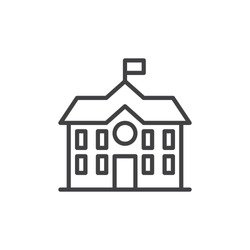 High school building line icon, outline vector sign, linear style pictogram isolated on white. Symbol, logo illustration. Editable stroke. Pixel perfect vector graphics
