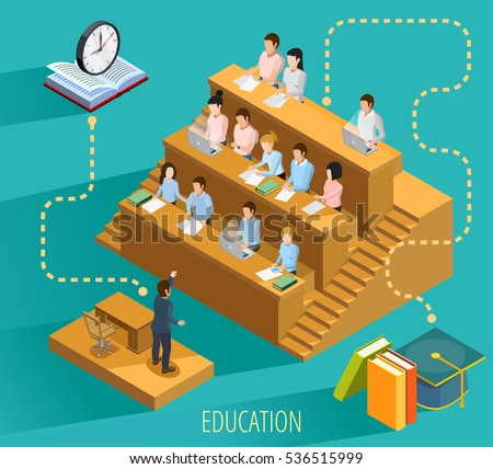 High school education with university lecture  study textbooks and graduation symbols isometric flowchart elements poster vector illustration