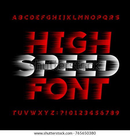 High speed alphabet vector font. Wind effect type letters and numbers on a black background. Stock vector typeface for your headers or any typography design.