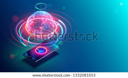 High speed communications with world wide web from anywhere in world via phone mobile internet. Hologram earth consists light dots. Abstract virtual hud elements over screen modern glass smartphone.