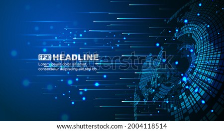 High speed. Hi-tech. Abstract technology background concept.Speed movement pattern and motion blur over dark blue background.