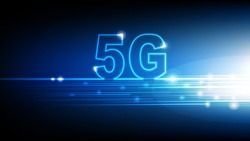 High speed internet 5G technology with blue abstract futuristic background, Vector illustration