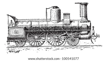 High-speed Locomotive, vintage engraved illustration. Dictionary of Words and Things - Larive and Fleury - 1895