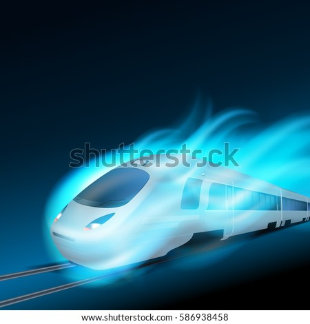 high speed train in motion blue