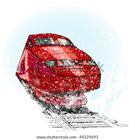 High speed train in snow