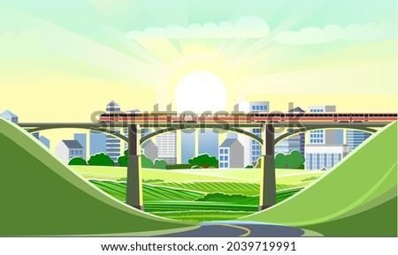 high speed train on the bridge