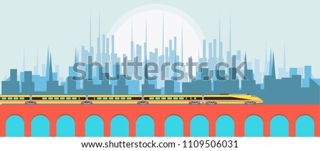 High speed yellow passenger train against city building background vector flat illustration design icon. Metro rail silhouette technology. Express railway maglev wagon track. Subway intercity travel.