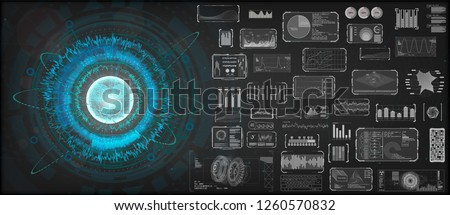 High-tech Design elements set. HUD circular technology concept. Futuristic dashboard elements. Futuristic User Interface, big set. ( graph, waves, arrow, bar regulator, circle, percent) HUD Vector set