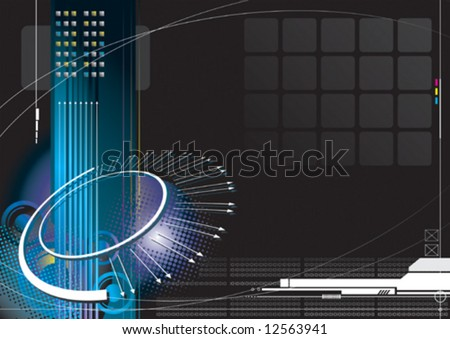 high-tech infinity concept with black color background - stock vector