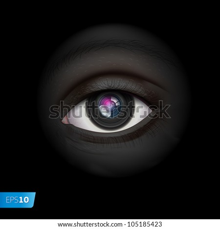 High-tech technology background with camera lens eye, vector Eps10 image.
