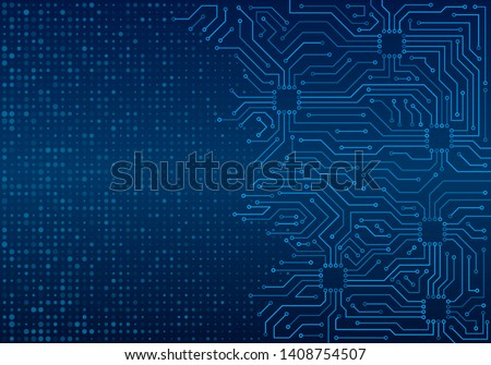 High-tech technology blue background texture. Circuit board minimal pattern. Science vector illustration.