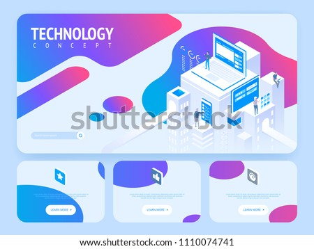 High technology concept. Landing page template. Header for website. High detailed isometric vector illustration
