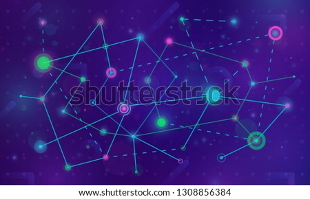 High technology process. Network concept connections with lights, lines, circles and dots on dark background. Connected cells with links.  Vector illustration.
