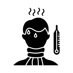 High temperature glyph icon. Fever symptom. Disease, illness. Man unwell. Healthcare. Influenza infection. Sick person. Thermometer. Silhouette symbol. Negative space. Vector isolated illustration