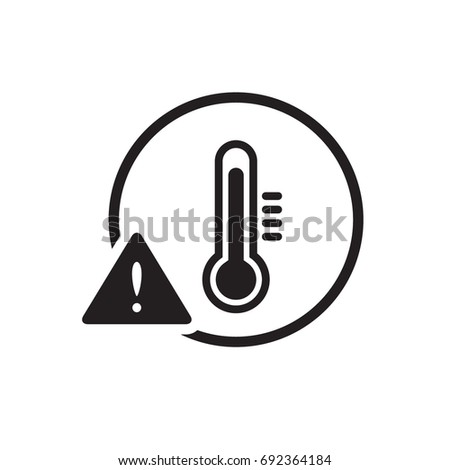 High temperature warning sign / icon, black flat glyphs design vector, isolated on white background