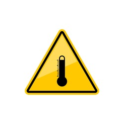 High temperature warning sign isolated not to heat precaution yellow triangular sign. Vector do not touch hot surface hazard symbol, hot weather or thermometer indicator beware risk sign