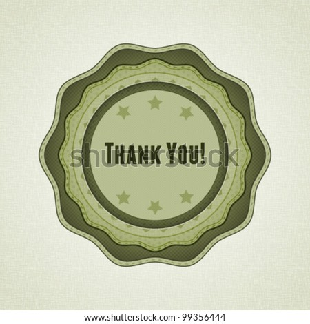 High textured thank you label in vintage style