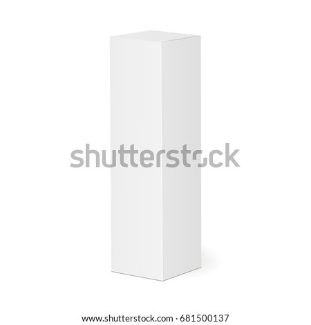 High thin white cardboard box. Cosmetic or medical packaging. Vector illustration