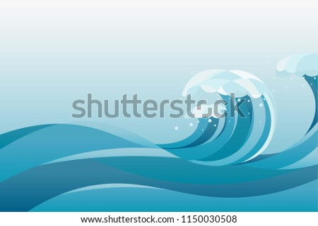high tide water waves Background. illustration of waves in the rising blue sea, with white background.