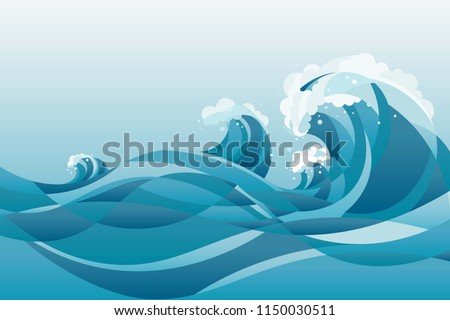 Stock Photo high tide water waves Background. illustration of waves in the rising blue sea, with white background.