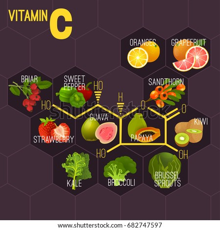 High vitamin C Foods. Healthy fruits, berries, greens and vegetables. Vector illustration with chemical formula in bright colours on a dark violet background.