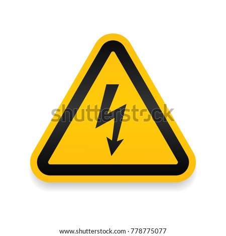 High voltage attention icon. Electric danger symbol. Flat Vector illustration. Vector attention sign with exclamation mark icon. risk sign vector illustration.