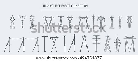 High voltage electric line pylon, pole network. Isolated icon set suitable for creating infographics. web site content etc. Vector illustration Photo stock ©