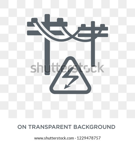 High voltage icon. Trendy flat vector High voltage icon on transparent background from Construction collection. High quality filled High voltage symbol use for web and mobile