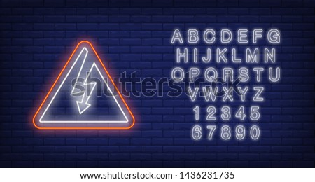 High voltage neon sign. Triangle signboard on brick wall background. Vector illustration in neon style for billboards, prohibiting signboards, warning signs