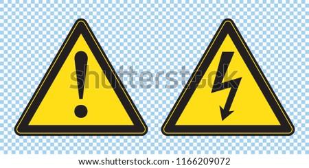 High voltage sign and danger sign, danger triangle symbol, warning sign