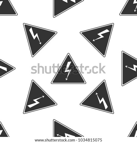 High voltage sign icon seamless pattern on white background. Danger symbol. Arrow in triangle. Warning icon. Flat design. Vector Illustration