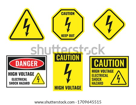 high voltage sign set  danger