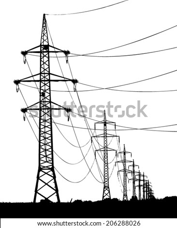 high voltage towers silhouette