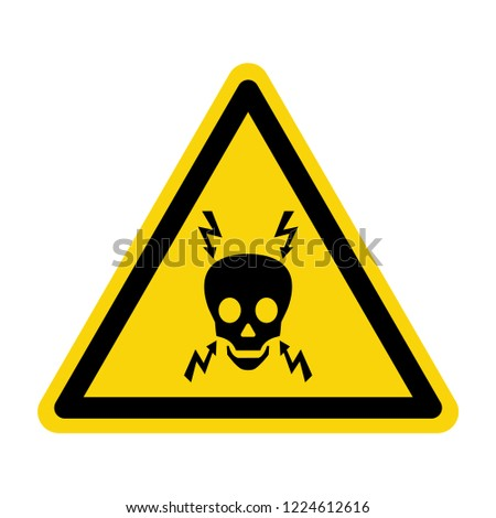 High voltage warning sign. Symbol, vector, illustration