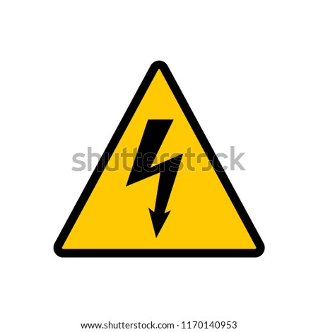 High voltage yellow triangle sign. High voltage hazard warning vector sign.