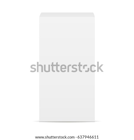 High white cardboard box mockup - front view. Rectangular blank box isolated. Vector illustration