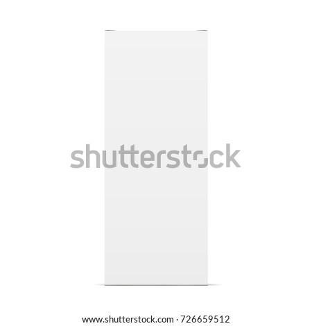 High white cardboard packaging mockup - front view. Rectangular blank closed box isolated. Vector illustration