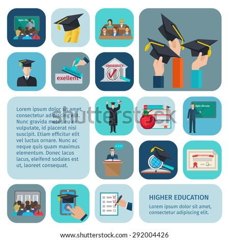 Higher education icons flat set with examination and learning symbols isolated vector illustration