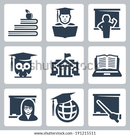 Higher education vector icons set