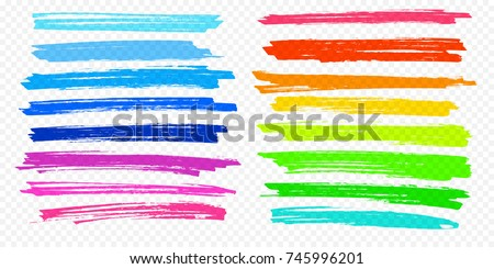 Highlight brush underline hand drawn strokes set. Vector marker or color pen lines in yellow, red, orange, green, blue highlighter strokes on transparent background.