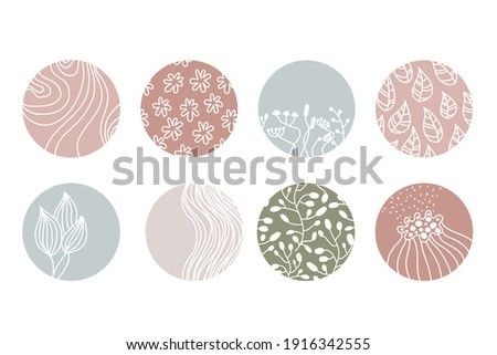 Highlight cover set, abstract floral botanical icons for social media. Vector illustration Foto stock ©