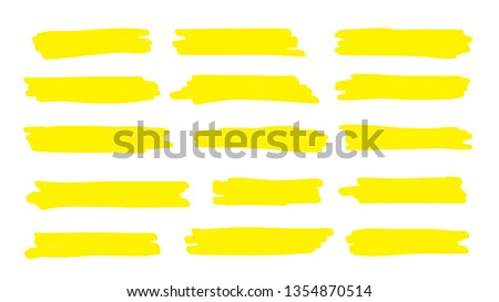 Highlight line. Marker color stroke, brush pen hand drawn underline. Abstract pencil texture paint drawn collection. Vector permanent marker yellow line set