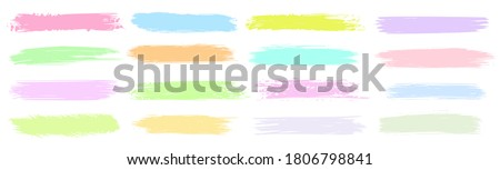Highlight line. Vector brush stain or permanent marker pen stroke set. Abstract art graphic marking sticker design element. Hand drawn underline curved attribute. Color highlight line illustration Foto stock ©