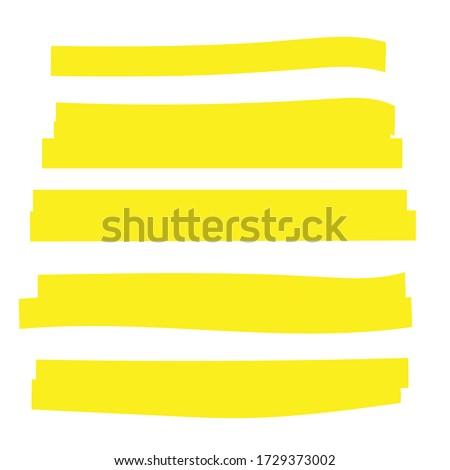 Highlight marker. Highlight yellow strokes. Marker pen highlight Foto stock ©